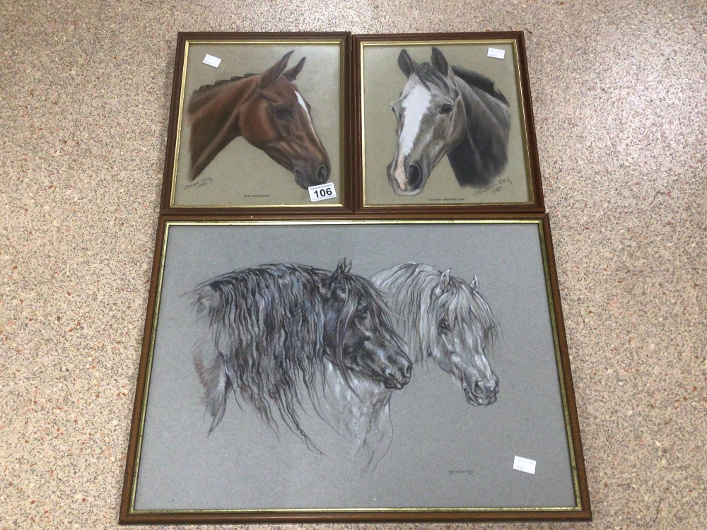 THREE FRAMED AND GLAZED WATERCOLOURS, LESLIE BENESON AND TWO BY SHARON TONG. ALL STUDIES OF HORSES