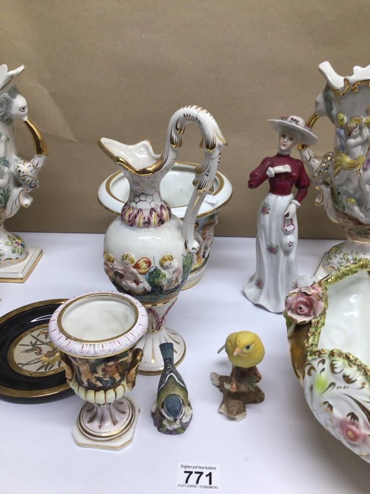 A QUANTITY OF MIXED CHINA ITEMS, CAPO DI MONTE, ROYAL WORCESTER BLUE TIT - Image 3 of 8