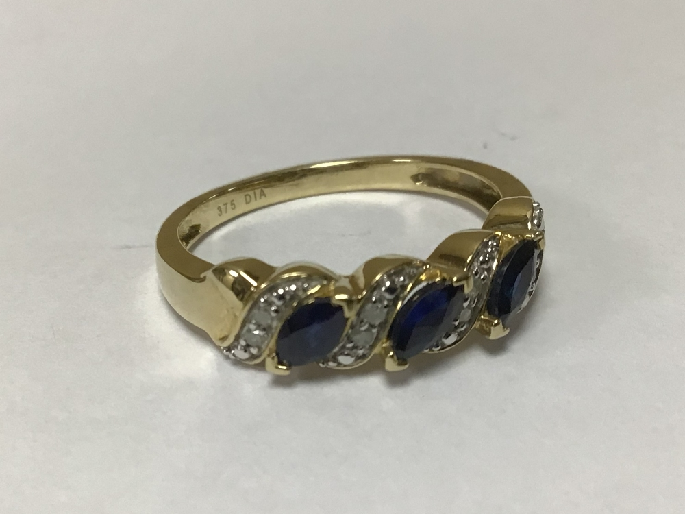 A 375 9CT GOLD RING WITH DIAMONDS AND SAPPHIRES O SIZE - Image 2 of 3
