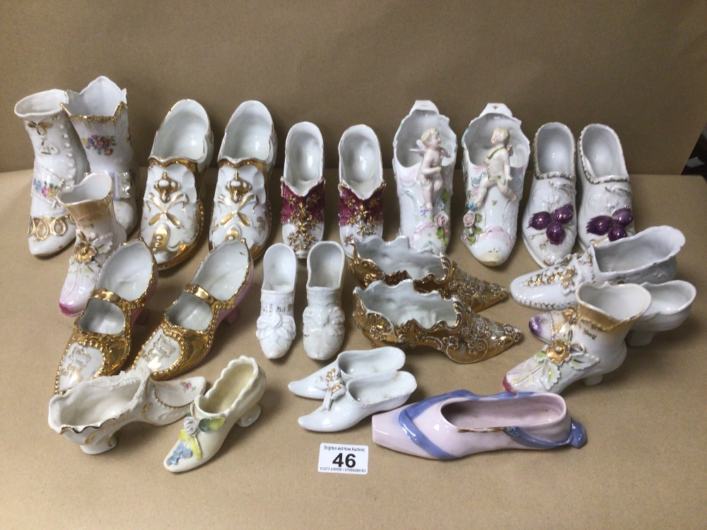 A LARGE COLLECTION OF VINTAGE PORCELAIN SHOES, SOME EARLY, INCLUDING SOME CONTAINING MAKERS MARKS TO