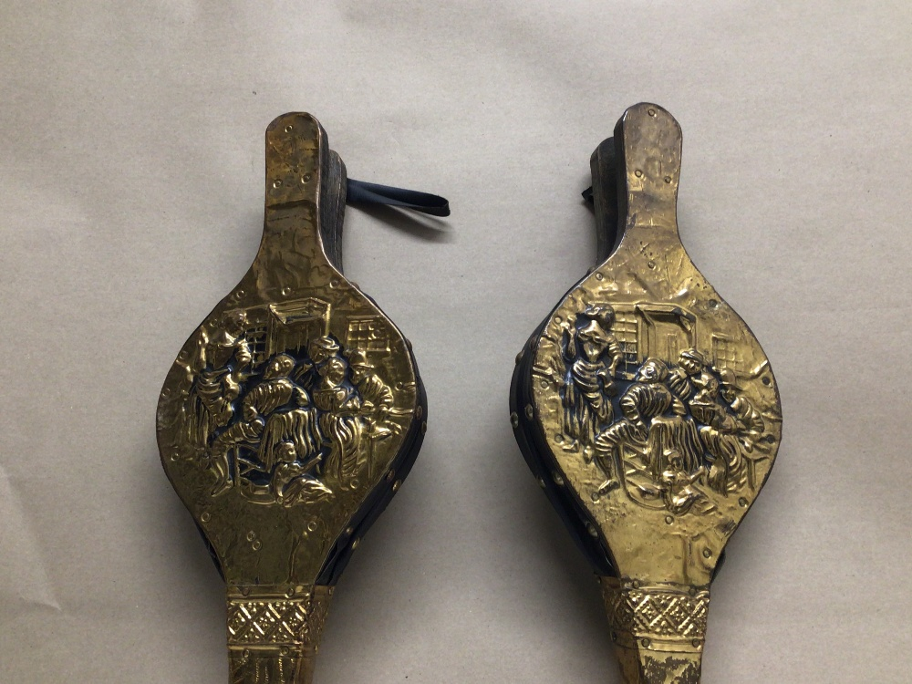 FOUR VINTAGE LEATHER AND BRASS BELLOWS - Image 3 of 5