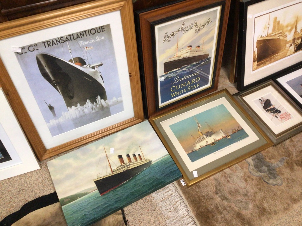 A LARGE QUANTITY OF SHIPS/BOATING PRINTS AND PHOTOGRAPHS, TITANIC CUNARD AND MORE, MOST FRAMED AND - Image 3 of 5