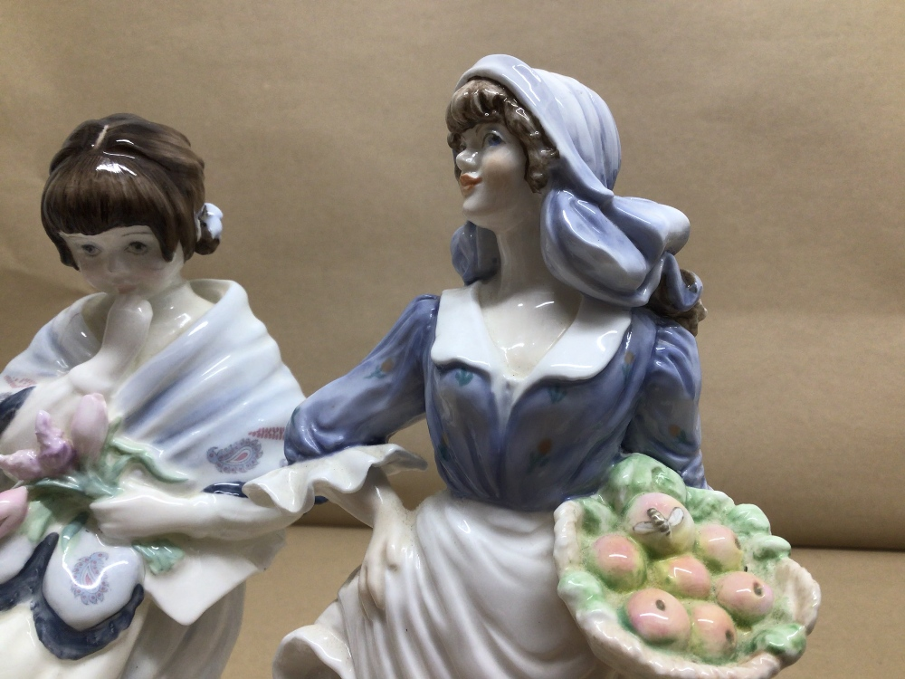 LIMITED EDITION ROYAL WORCESTER FIGURE 'ROSIE PICKING APPLES' WITH TWO LIMITED EDITION COALPORT - Image 4 of 7