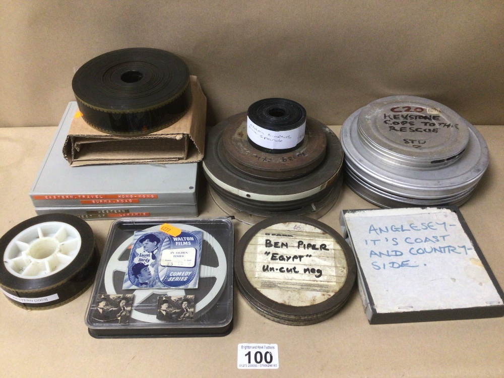 A QUANTITY OF VINTAGE FILM REELS, WALTON FILMS, LAUREL AND HARDY, ANGLESEY COAST AND COUNTRYSIDE,