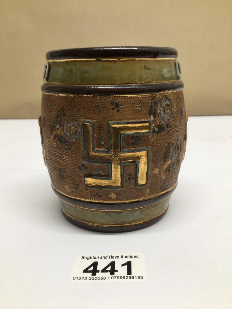 A ROYAL DOULTON EARLY 20TH CENTURY TOBACCO JAR (LID MISSING) GOOD LUCK WITH SWASTIKA EMBLEM, 12CM