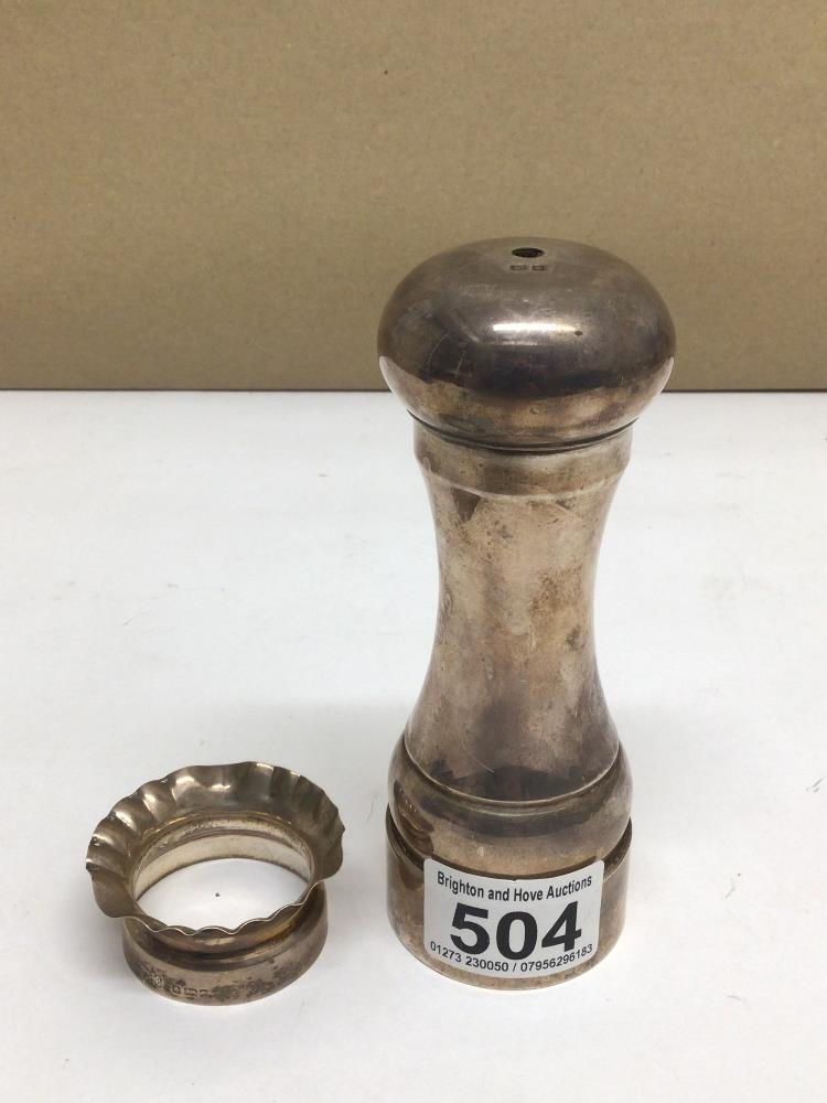 A HALLMARKED SILVER PETER PIPER SALT MILL A/F WITH A HALLMARKED SILVER NAPKIN RING TOTAL WEIGHT, 239