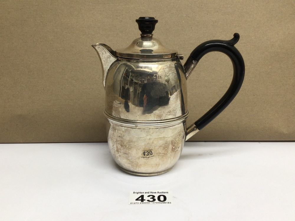 A HALLMARKED SILVER BARREL SHAPED HOT WATER JUG 1931, DENNISON WIGLEY AND CO, TOTAL WEIGHT 185 - Image 3 of 5