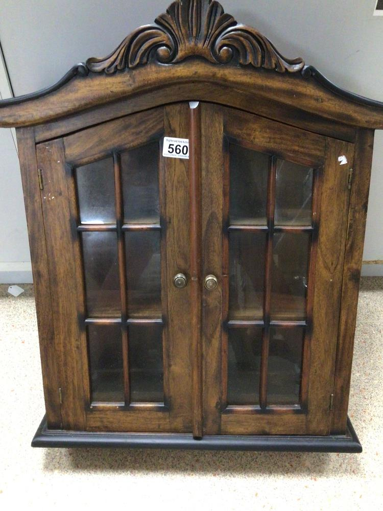 A SMALL WOODEN CABINET WITH GLASS FRONT DOORS, 64 X 50 X 15CM - Image 2 of 3