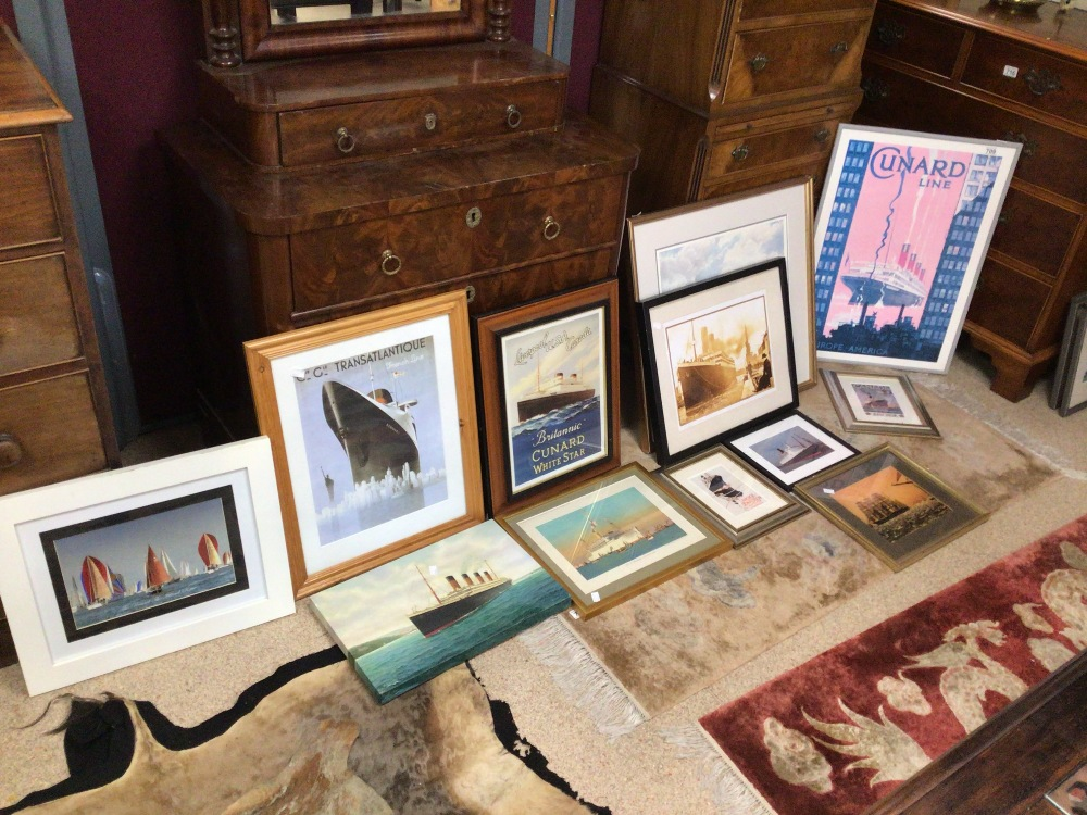 A LARGE QUANTITY OF SHIPS/BOATING PRINTS AND PHOTOGRAPHS, TITANIC CUNARD AND MORE, MOST FRAMED AND