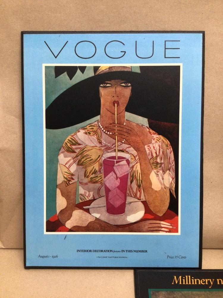 VOGUE THREE REPRODUCTION PRINTS ON BOARD, 37 X 29CM - Image 4 of 4