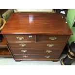 A VINTAGE TWO OVER THREE CHEST OF DRAWERS WITH BRASS HANDLES, 95 X 54 X 90CM