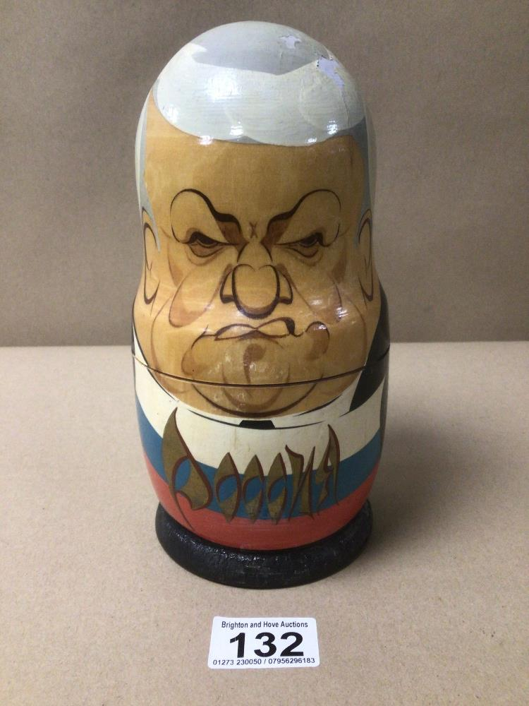 A SET OF RUSSIAN FORMER LEADERS NESTING DOLLS - Image 2 of 4
