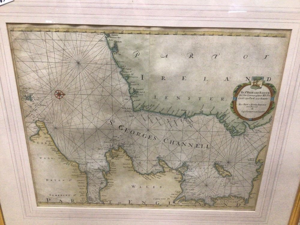 A QUANTITY OF MAPS MOST OF WHICH ARE UNFRAMED WITH A YACHTING FRAMED AND GLAZED PRINT - Image 3 of 4