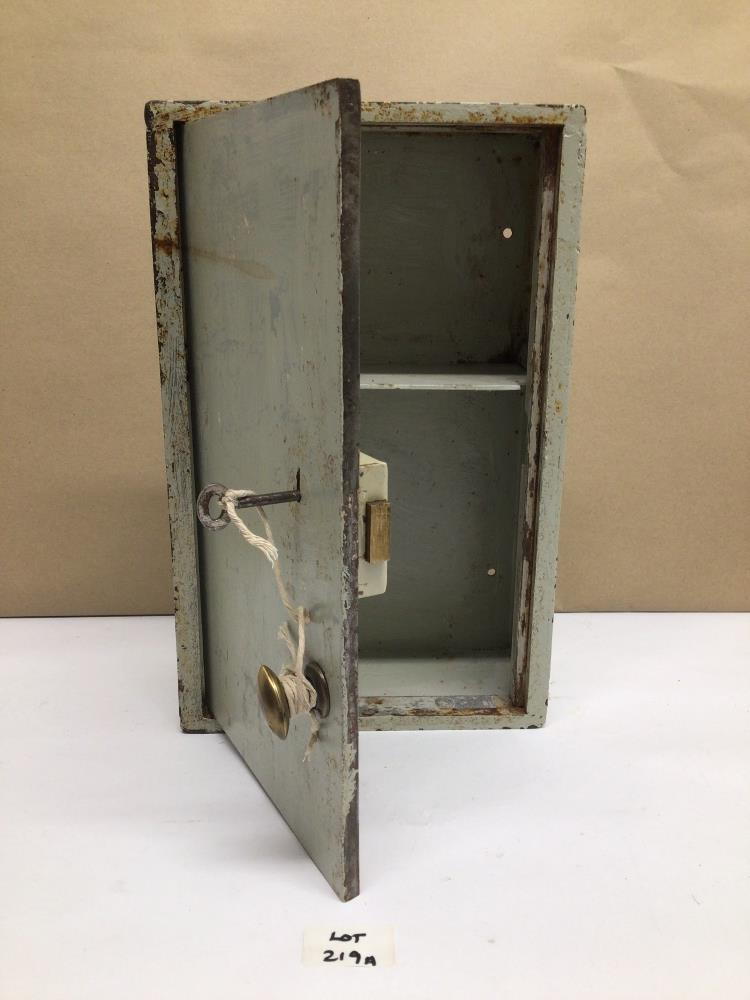 A VINTAGE METAL CHUBB WALL SAFE WITH LOCK AND KEY, 35 X 23 X 11CM