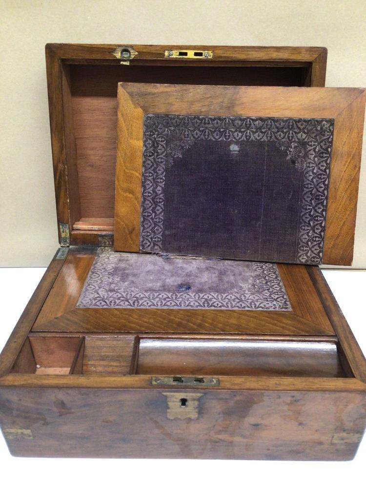 A VICTORIAN WALNUT RECTANGULAR WRITING SLOPE WITH BRASS CORNERS, 30CM - Image 3 of 6