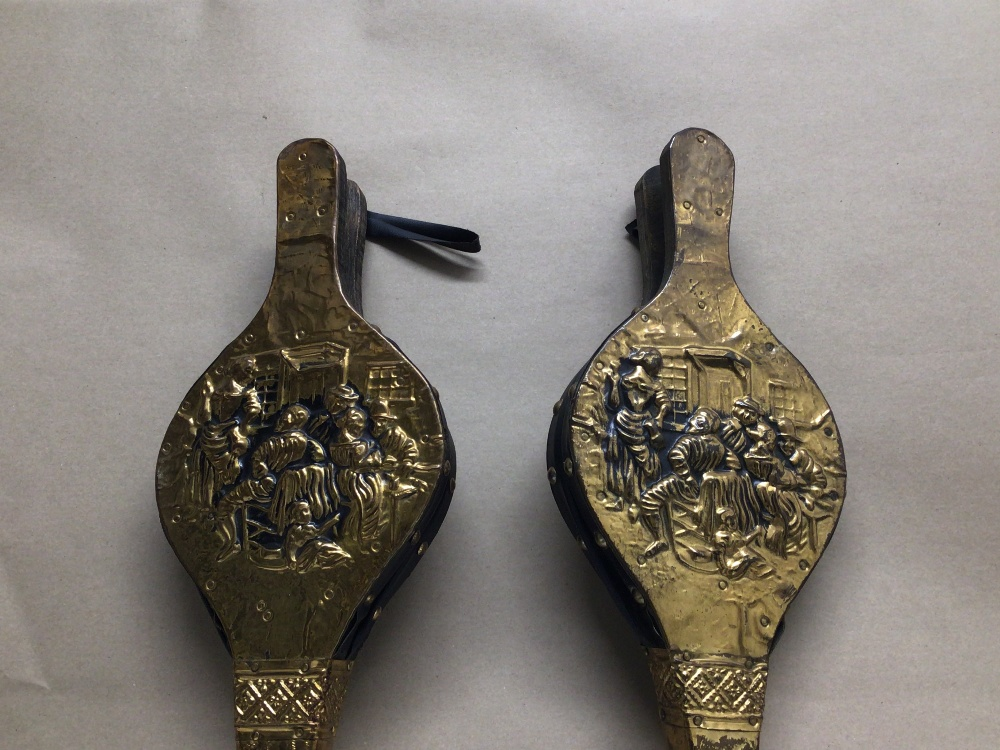 FOUR VINTAGE LEATHER AND BRASS BELLOWS - Image 5 of 5