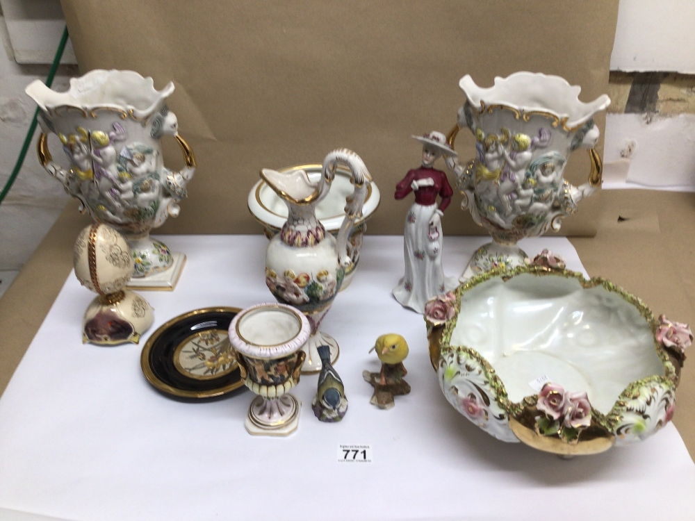 A QUANTITY OF MIXED CHINA ITEMS, CAPO DI MONTE, ROYAL WORCESTER BLUE TIT