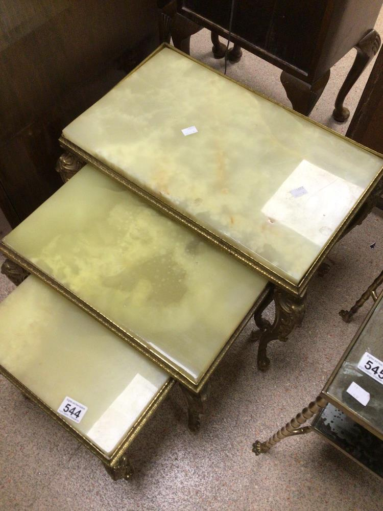 A VINTAGE NEST OF THREE TABLES GILDED FRAMES AND ONYX TOPS - Image 3 of 4