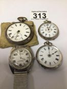MIXED SILVER/WHITE METALPOCKET/FOB WATCHES WITH A METAL STRAP ORIS WATCH