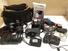 A COLLECTION OF UNTESTED CAMERAS, SOME CASED, INCLUDES CANON (EOS 1000), SONY (DSC-W55), KODAK (