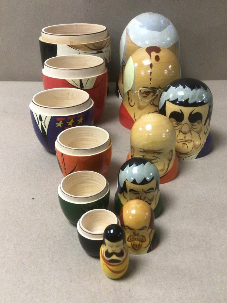A SET OF RUSSIAN FORMER LEADERS NESTING DOLLS