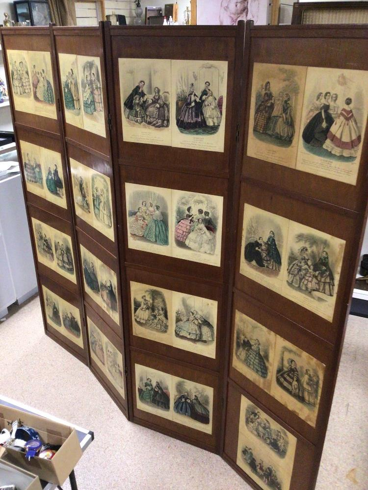 A VINTAGE WOODEN FOUR FOLD SCREEN DECORATED WITH VICTORIAN FLOWER PRINTS/ AND VICTORIAN DRESSWEAR - Image 4 of 5