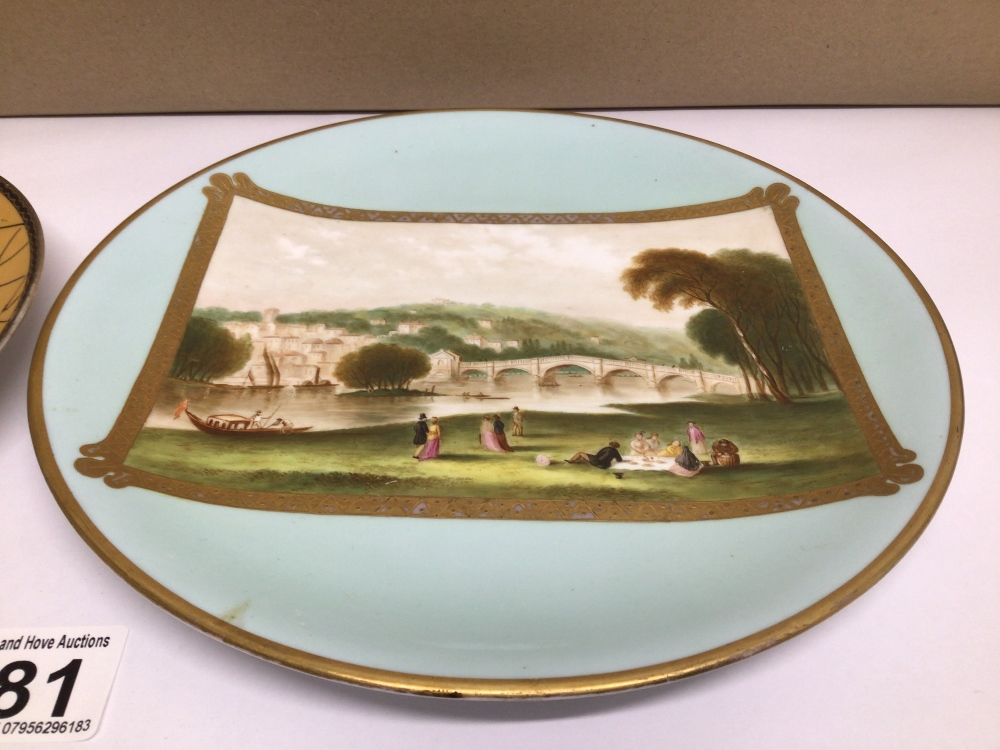 TWO HAND-PAINTED PLATES ONE WITH ORIENTAL CHARACTER MARKS TO BASE DECORATED WITH FLOWERS AND THE - Image 3 of 6