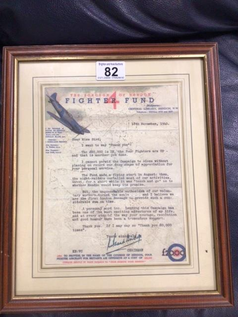 A FRAMED AND GLAZED SIGNED AND DATED WW2 FIGHTER FUND 'THANK YOU' LETTER ADDRESSED TO 'MISS BIRD'