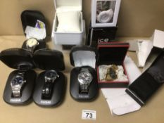 FOUR BOXED PULSAR QUARTZ WATCHES, WITH AN ICE WATCH AND AN ASTRON BOTH IN BOX, WITH TWO EMPTY