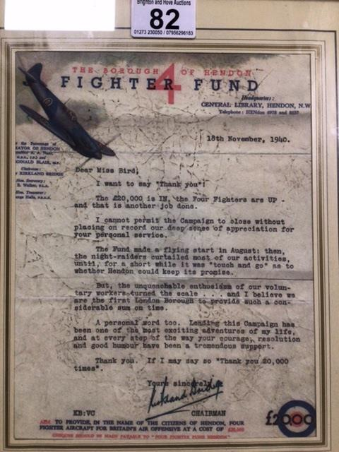 A FRAMED AND GLAZED SIGNED AND DATED WW2 FIGHTER FUND 'THANK YOU' LETTER ADDRESSED TO 'MISS BIRD' - Image 2 of 3
