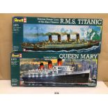 TWO REVELL PLASTIC MODEL KITS OF QUEEN MARY (05203) AND TITANIC (05215) BOTH BOXED, CONTENTS