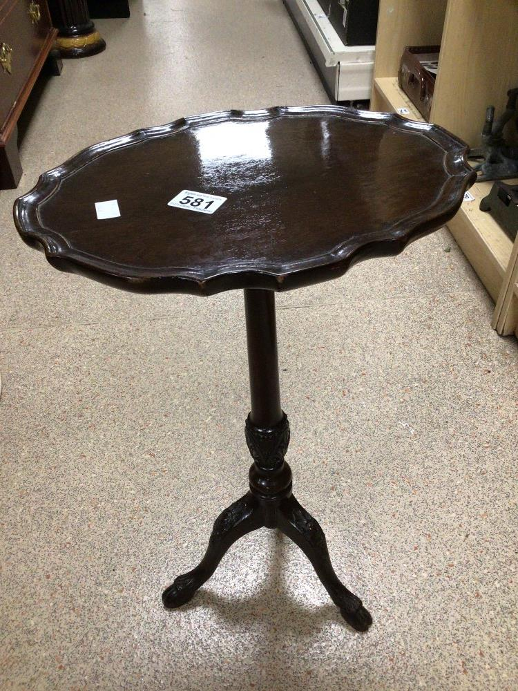 A VINTAGE PIECRUST WINE TABLE ORNATE CARVED LEGS, 56CM HIGH