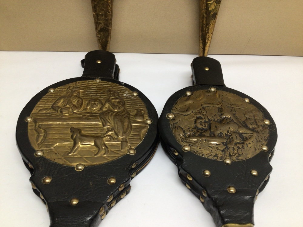 FOUR VINTAGE LEATHER AND BRASS BELLOWS - Image 2 of 5