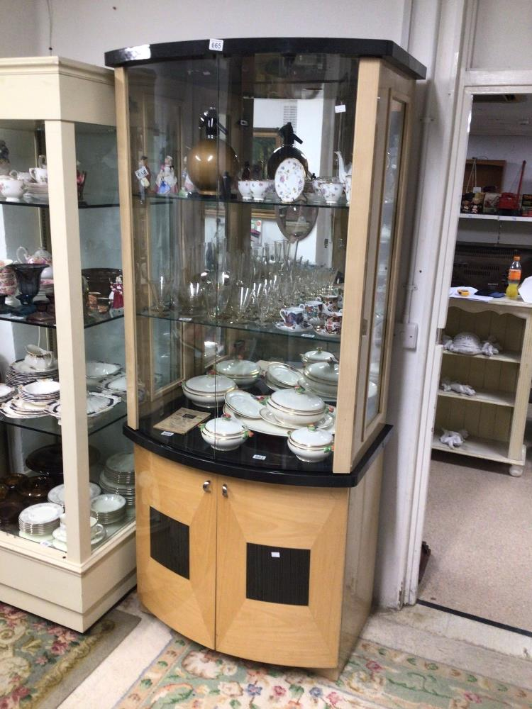 A MODERN GLASS FRONTED DISPLAY CABINET WITH STORAGE BOW FRONTED 203 X 91 X 55CM