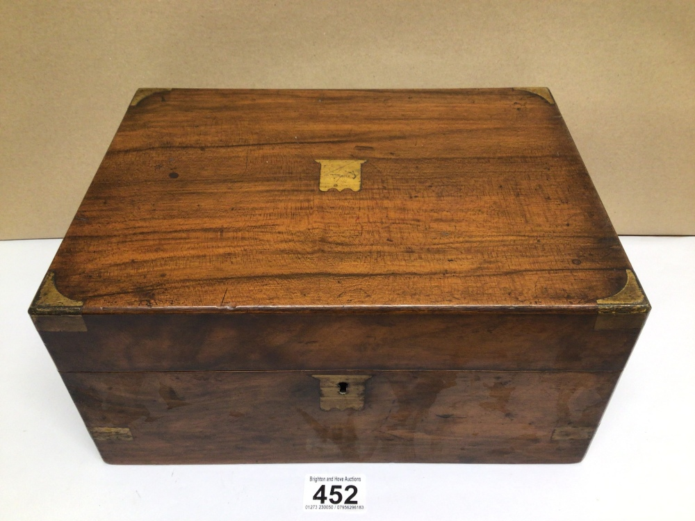 A VICTORIAN WALNUT RECTANGULAR WRITING SLOPE WITH BRASS CORNERS, 30CM - Image 2 of 6