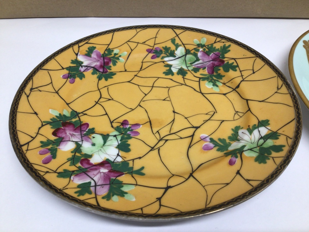 TWO HAND-PAINTED PLATES ONE WITH ORIENTAL CHARACTER MARKS TO BASE DECORATED WITH FLOWERS AND THE - Image 2 of 6