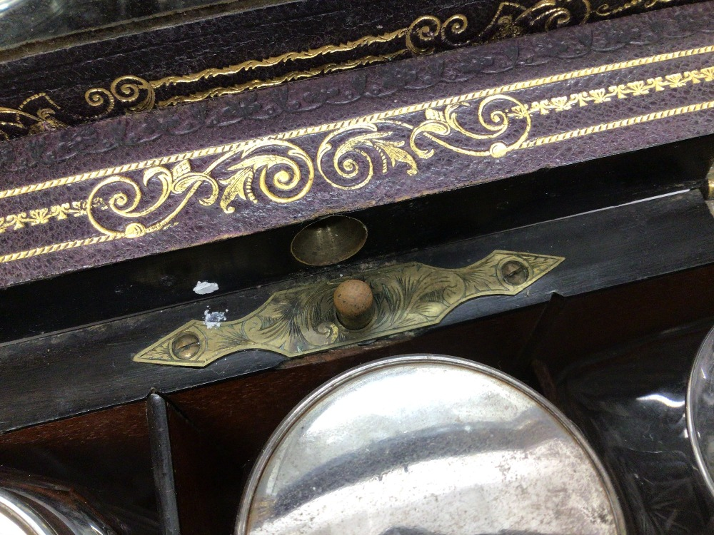 A VICTORIAN ROSEWOOD AND FOLIATE ENGRAVED BRASS BOUND RECTANGULAR TRAVELLING TOILET BOX, THE - Image 7 of 10