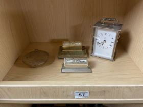 SILVER PLATED METAMEC QUARTZ CARRIAGE CLOCK WITH A DESIGN STUDIO STOCKHOLM STEEL INKWELL AND TWO