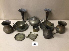 A MIXED QUANTITY OF INDIAN/MIDDLE EASTERN DECORATED BRASSWARE INCLUDES TEA POT