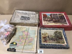A QUANTITY OF VINTAGE JIGSAW PUZZLES, SEABOARD, TROOPING THE COLOUR (A.V. N.JONES) VICTORY, AND