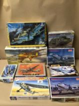 A QUANTITY OF BOXED MODEL KITS SOME STILL WRAPPED CONTENTS NOT CHECKED, MINICRAFT, HELLER, (