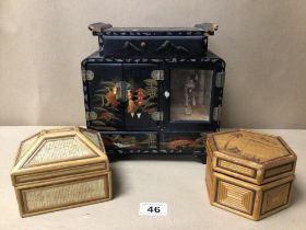 A BLACK LACQUERED JEWELLERY BOX WITH TWO OTHER BOXES