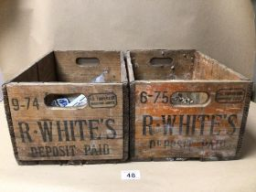 TWO VINTAGE R.WHITES WOODEN CRATES