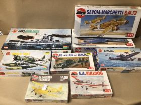 AIRFIX MODELS SOME SEALED, ALL CONTENTS NOT CHECKED, AIRCRAFT, TRACTOR AND GUN