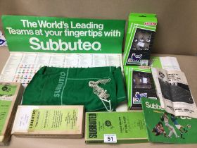 MIXED ITEMS OF SUBBUTEO, NEWCASTLE, BLACKBURN, MANCHESTER UNITED, ARSENAL, AND WEST BROM, THE 1980S