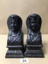 A PAIR OF 19TH CENTURY FIRE DOGS, (EGYPTIAN PHARAOHS) CAST IRON