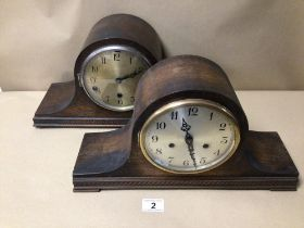 TWO OAK CASED MANTLE CLOCKS ONE WESTMINSTER CHIME BOTH WITH PENDULUM
