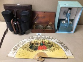 MIXED ITEMS, CASED BINOCULARS (REGENT) 7 X 50, BOXED W AND T AVERY BRASS SCALES, MICROSCOPE, AND