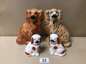 TWO PAIRS OF VINTAGE STAFFORDSHIRE DOGS, LARGEST 19CM