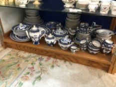AN EXTENSIVE COLLECTION OF BLUE AND WHITE DINNER, TEA, AND COFFEE SERVICE ( REAL OLD WILLOW)